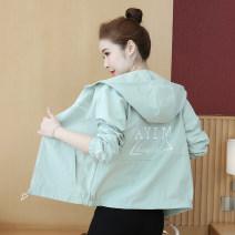 short coat Spring 2020 Long sleeves routine routine singleton  easy commute routine Hood zipper letter Han Mi fan 71% (inclusive) - 80% (inclusive) polyester fiber polyester fiber Polyester 80% other 20%