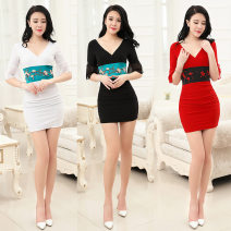 Dress Fall 2017 White, red, black S. M, l, XL, XXL, XXL Short skirt singleton  elbow sleeve commute V-neck High waist Solid color Socket One pace skirt routine Others 18-24 years old Yangcheng Tianyu Lace up, stitching, open back, bow 71% (inclusive) - 80% (inclusive) other other