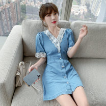 Dress Summer 2021 blue S,XL,L,M Short skirt singleton  Short sleeve commute V-neck High waist Solid color zipper A-line skirt routine Others 25-29 years old nutlet Korean version Splicing, hollowing out 81% (inclusive) - 90% (inclusive) other polyester fiber
