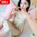 Nightdress NGGGN Champagne , black , lilac colour , Deep purple , sky blue , Watermelon red , Zhongfen , Royal Blue , bright red , Red bean paste , Rose red , Light pink sexy camisole pajamas Middle-skirt summer Solid color youth Iced silk Hollowing out More than 95% polyester fiber NJR - RYX478
