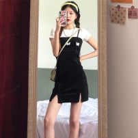 Women's large Summer 2021 White T-shirt black suspender skirt white T-shirt + black suspender skirt S M L XL Dress Two piece set commute Self cultivation thin Short sleeve Korean version Crew neck Cheng Biao 18-24 years old Medium length Other 100%