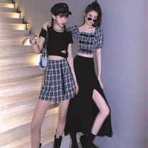 Women's large Summer 2021 Long suit short suit S M L XL Dress Two piece set street thin Socket Short sleeve have cash less than that is registered in the accounts Cheng Biao 18-24 years old Short skirt Other 100% Same model in shopping mall (sold online and offline) Sports & Leisure