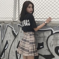 Women's large Summer 2021 Black T-shirt + skirt black T-shirt skirt S M L XL Dress Two piece set commute easy thin Short sleeve Cheng Biao 18-24 years old Short skirt Other 100% Same model in shopping mall (sold online and offline)
