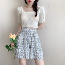 Women's large Summer 2021 Apricot white top blue floral skirt apricot white top + blue floral skirt S M L XL skirt Two piece set commute Self cultivation Socket Short sleeve Solid color lady Crew neck have cash less than that is registered in the accounts polyester fiber routine Cheng Biao Other 100%