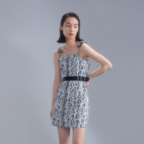 Dress Summer 2021 Black and white (April 20) S M L XL Short skirt singleton  Sleeveless commute One word collar High waist Decor Socket A-line skirt routine camisole 25-29 years old Type A SKSX printing S12142401 More than 95% cotton Cotton 100%