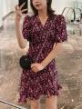 Women's large Summer 2020 Floral yellow skirt M [80-100kg], l [100-115kg], XL [115-130kg], 2XL [130-150kg], 3XL [150-170kg], 4XL [170-200kg] Dress singleton  commute Self cultivation Socket Short sleeve Broken flowers Korean version V-neck other routine 25-29 years old zipper Medium length