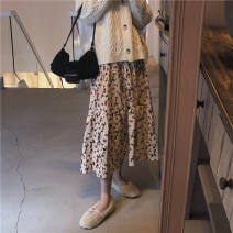 skirt Winter 2020 S M L XL Apricot red Mid length dress commute High waist A-line skirt Broken flowers Type A 18-24 years old SL2020121503 More than 95% corduroy Love (clothing) polyester fiber printing Polyester 100% Pure e-commerce (online only)
