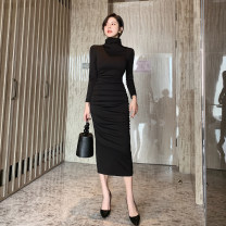 Dress Spring 2021 black S M L longuette singleton  Long sleeves commute High collar High waist Solid color zipper One pace skirt routine Others 25-29 years old Zhi Ruyun lady Pleated zipper 31% (inclusive) - 50% (inclusive) nylon Pure e-commerce (online only)