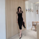 Dress Autumn 2020 black S M L XL Mid length dress singleton  Short sleeve Sweet Crew neck High waist Solid color zipper Pencil skirt Sleeve Others 25-29 years old Type H Zhi Ruyun Elastic stitched zipper ZRY173688 30% and below nylon Mori Pure e-commerce (online only)