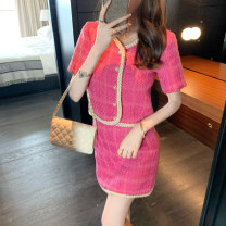 Women's large Summer 2020 Plum powder top plum powder skirt S M L XL XXL XXXL Dress Two piece set commute Self cultivation moderate Cardigan Short sleeve Solid color Korean version V-neck have cash less than that is registered in the accounts routine Janet (costume) 18-24 years old Short skirt