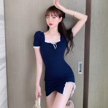 Women's large Spring 2021 dark blue S M L Dress singleton  commute Conjoined Short sleeve Solid color Korean version square neck puff sleeve Janet (costume) 18-24 years old 51% (inclusive) - 70% (inclusive) Short skirt Other 100% Pure e-commerce (online only)