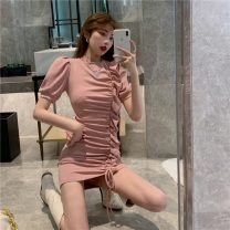 Women's large Spring 2021 Black Pink S M L Dress singleton  commute Conjoined Solid color Korean version Janet (costume) 18-24 years old Other 100% Pure e-commerce (online only)
