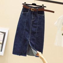 skirt Summer 2021 S,M,L,XL,2XL Black, blue longuette commute High waist skirt Solid color Type A Denim Ocnltiy pocket Korean version