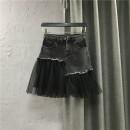 skirt Spring 2021 S,M,L,XL,2XL black Short skirt commute High waist Splicing style Solid color Type A 25-29 years old More than 95% Denim Ocnltiy cotton Pocket, zipper, button, mesh Korean version
