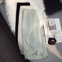skirt Summer 2021 M, L Black, apricot, dark green longuette Versatile High waist A-line skirt Solid color Type A 25-29 years old More than 95% Ocnltiy polyester fiber bow