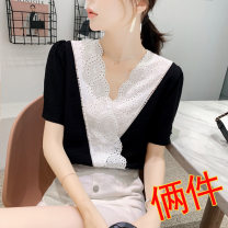 T-shirt S M L XL 2XL Summer 2020 Short sleeve V-neck Straight cylinder Regular routine commute other 96% and above 25-29 years old Korean version youth Polka dot color mosaic Lixiaqin 2020L079 Three dimensional decorative button embroidery lace fold and hollow Other 100%