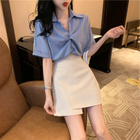 Women's large Summer 2020 S M L XL Other oversize styles Two piece set easy moderate Socket Short sleeve Polo collar routine routine EN Heng 18-24 years old Short skirt Other 100% Pure e-commerce (online only) Irregular skirt