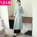Dress Winter 2020 White [dress only] blue [dress only] M L XL Mid length dress singleton  Long sleeves commute stand collar Solid color A-line skirt routine 25-29 years old Temperament and beauty ethnic style Bandage QZHY20DL2515 More than 95% other Other 100% Pure e-commerce (online only)