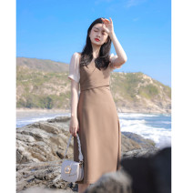 Dress Summer 2021 khaki S M L XL Mid length dress 25-29 years old Poetry and beauty B040110145 More than 95% other Other 100%