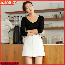 skirt Autumn of 2018 2XL suggests 31 ~ 32, XL suggests 30 ~ 31, s suggests 26, l suggests 29, m suggests 27 ~ 28 1904 white, 1904 black Short skirt commute High waist A-line skirt Solid color Type A 18-24 years old More than 95% Denim cotton Pockets, buttons, stitching