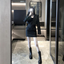 Women's large Autumn 2020 Black T {coat} black {skirt} S M L Jacket / jacket Two piece set commute Self cultivation moderate Cardigan Long sleeves Solid color Korean version One word collar have cash less than that is registered in the accounts Three dimensional cutting other Z2391 Xia Qilin Button