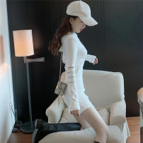 Women's large Autumn 2020 White black S M L XL Dress singleton  commute Self cultivation moderate Socket Long sleeves Solid color Korean version Hood Three dimensional cutting other Z1412 Xia Qilin 18-24 years old zipper Short skirt Other 100% other