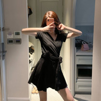 Women's large Summer 2021 Grey black S M L skirt Two piece set commute moderate Socket Short sleeve Korean version V-neck have cash less than that is registered in the accounts Three dimensional cutting other Y1302 Xia Qilin 18-24 years old Bandage Other 100%