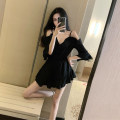 Women's large Summer 2020 black S M L Dress singleton  commute Self cultivation moderate Socket Solid color Korean version V-neck Three dimensional cutting Z0650 Xia Qilin 18-24 years old backless 91% (inclusive) - 95% (inclusive) Other 100% other