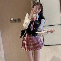 Women's large Winter 2016 S M L Dress Two piece set commute Self cultivation Socket Long sleeves Check solid Korean version Polo collar have cash less than that is registered in the accounts shirt sleeve Xia Qilin 18-24 years old Short skirt Other 100% Pleated skirt