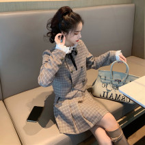 Women's large Winter 2020 S M L Jacket / jacket Two piece set commute Straight cylinder moderate Cardigan Long sleeves houndstooth  Korean version other have cash less than that is registered in the accounts Three dimensional cutting other 18-24 years old Button 71% (inclusive) - 80% (inclusive)