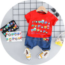 T-shirt Red engineering vehicle short sleeve 2 sets white engineering vehicle short sleeve 2 sets black engineering vehicle short sleeve 2 sets 1552 red 73 about 4-8 months 85 90 100 Summer 2020 Short sleeve Regular other 96% and above Jin Wuqing 2UN1Pu PU