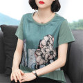T-shirt Bean green M L XL 2XL 3XL 4XL Summer 2021 Short sleeve Crew neck easy Regular routine commute polyester fiber 86% (inclusive) -95% (inclusive) 40-49 years old Korean version originality Plants and flowers Ou Ting's pregnancy dfg5675768 Printed stitching fold Polyester 90% other 10%