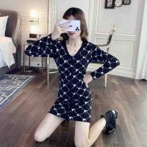 Dress Autumn 2020 black S M L Short skirt singleton  Long sleeves commute V-neck High waist other Single breasted One pace skirt routine Others 18-24 years old Type H Palpitation Korean version Three dimensional decoration LYJ32632568 More than 95% knitting other Other 100%