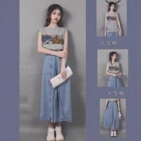 Women's large Summer 2021 Top Denim Skirt Top + denim skirt S M L XL skirt Two piece set commute moderate Socket Sleeveless Solid color Korean version Crew neck routine cotton routine Charming Naizi 18-24 years old pocket 81% (inclusive) - 90% (inclusive) longuette Cotton 80% polyester 20%