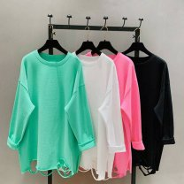 T-shirt Long sleeves Crew neck easy Medium length other 96% and above Solid color Other / other hole