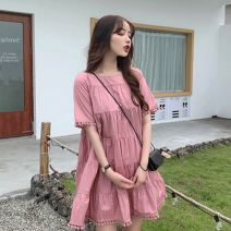 Women's large Summer 2020 Pink dress M L XL XXL S Dress singleton  commute easy moderate Socket Short sleeve Solid color Retro other other A297 18-24 years old 30% and below Middle-skirt Polyester 100% Pure e-commerce (online only) other