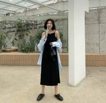 Dress Spring 2020 Dark grey, black L, M longuette singleton  Sleeveless commute other Loose waist Solid color Socket other other camisole 18-24 years old Type H Other / other Korean version 71% (inclusive) - 80% (inclusive) other