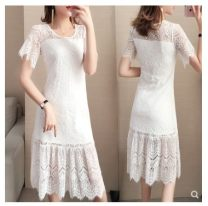 Dress Summer 2021 White, black S,M,L,XL,2XL,3XL,4XL longuette singleton  Long sleeves commute Hood Loose waist Solid color Single breasted A-line skirt routine Others Lace 51% (inclusive) - 70% (inclusive) Lace cotton
