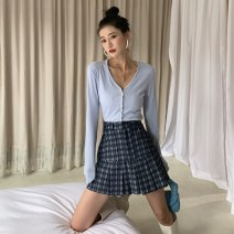 skirt Autumn 2020 S,M,L,XL blue Short skirt commute High waist A-line skirt lattice Type A 18-24 years old BSQ042 91% (inclusive) - 95% (inclusive) Denim Other / other cotton Korean version 201g / m ^ 2 (including) - 250G / m ^ 2 (including)