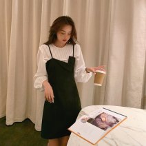 Dress Autumn 2020 Black suspender skirt, white shirt S,M,L Short skirt Two piece set Sleeveless commute Dangling collar High waist Solid color zipper A-line skirt routine camisole 18-24 years old Type A Other / other Korean version zipper LYQ20201113003 91% (inclusive) - 95% (inclusive) other
