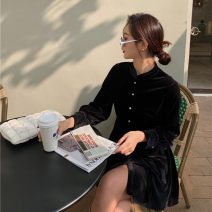 Dress Spring 2021 black S,M,L Short skirt singleton  Long sleeves commute stand collar High waist Solid color Single breasted A-line skirt routine Others 18-24 years old Type A Other / other Korean version Lace up, button LYQ20210116004 91% (inclusive) - 95% (inclusive) other polyester fiber