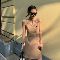 Dress Summer 2020 khaki S,M,L Short skirt singleton  Sleeveless commute V-neck High waist Solid color Socket One pace skirt routine camisole 18-24 years old Type A Other / other Korean version Open back, stitching, buttons LYQ0184 More than 95% other polyester fiber