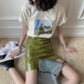 skirt Summer 2020 S,M,L,XL White T-shirt, Beixing T-shirt, lake green skirt, deep mustard green skirt Short skirt commute High waist High waist skirt Solid color Type A 18-24 years old BSQ019 91% (inclusive) - 95% (inclusive) other Other / other PU zipper Korean version