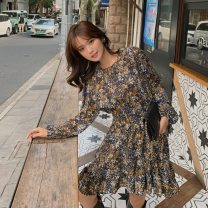 Dress Autumn 2020 Blue, black, apricot S,M,L Short skirt singleton  Long sleeves commute Crew neck High waist Broken flowers Socket Ruffle Skirt routine Others 18-24 years old Type A Other / other Korean version Open back, fold LYQ20201026002 91% (inclusive) - 95% (inclusive) Chiffon polyester fiber