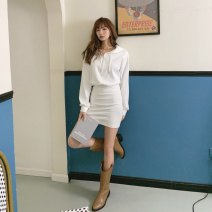 Dress Autumn 2020 White, black, grey S,M,L Short skirt singleton  Long sleeves commute Hood High waist Solid color zipper A-line skirt routine Others 18-24 years old Type A Other / other Korean version zipper 91% (inclusive) - 95% (inclusive) other cotton