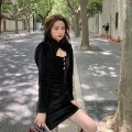 Dress Autumn 2020 black S,M,L Short skirt singleton  Long sleeves commute other High waist Solid color Socket A-line skirt routine Others 18-24 years old Type A Other / other Korean version Cut out, button LYQ20201013001 other polyester fiber