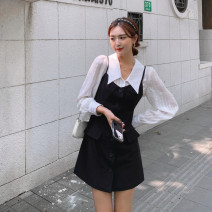 Dress Autumn 2020 S,M,L Short skirt Two piece set Sleeveless commute square neck High waist Solid color Single breasted A-line skirt routine camisole 18-24 years old Type A Other / other Korean version Pocket, button 91% (inclusive) - 95% (inclusive) other polyester fiber