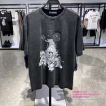T-shirt Youth fashion grey routine S,M,L,XL,2XL Peacebird Short sleeve Crew neck easy Other leisure summer B2DAB2174 Cotton 100% youth routine Cotton wool 2021 Cartoon animation cotton Animal design 70% (inclusive) - 79% (inclusive)