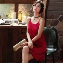 Nightdress KATIE KITTY L,XL,M sexy Sleeveless Leisure home longuette summer Solid color youth One word collar Iced silk One piece More than 95%