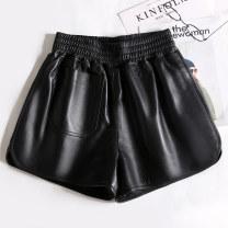 Casual pants black S,M,L,XL,2XL Autumn 2020 shorts Wide leg pants High waist original routine 25-29 years old 96% and above Sheepskin pocket Sheepskin